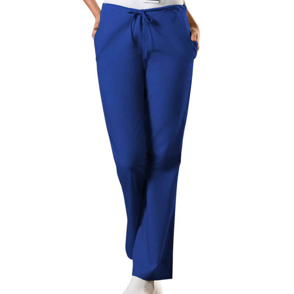 Cherokee Workwear 4101 Scrubs Pants Women's Natural Rise Flare Leg Drawstring Galaxy Blue