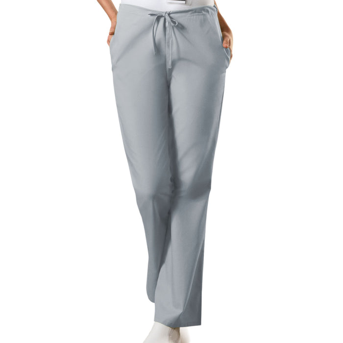 Cherokee Workwear 4101 Scrubs Pants Women's Natural Rise Flare Leg Drawstring Grey