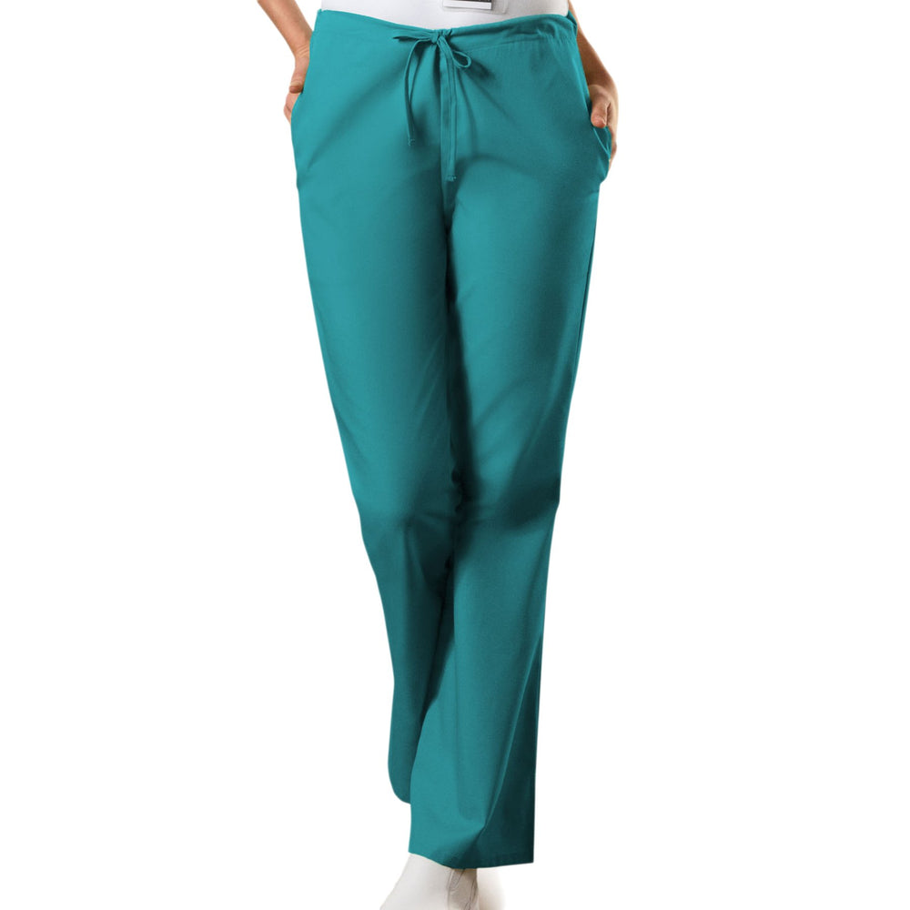 Cherokee Workwear 4101 Scrubs Pants Women's Natural Rise Flare Leg Drawstring Teal Blue