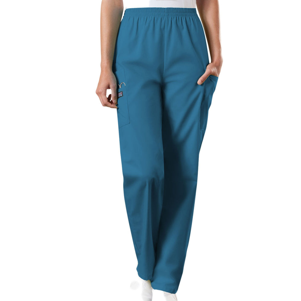 Cherokee Workwear 4200 Scrubs Pants Women's Natural Rise Tapered Pull-On Cargo Caribbean Blue