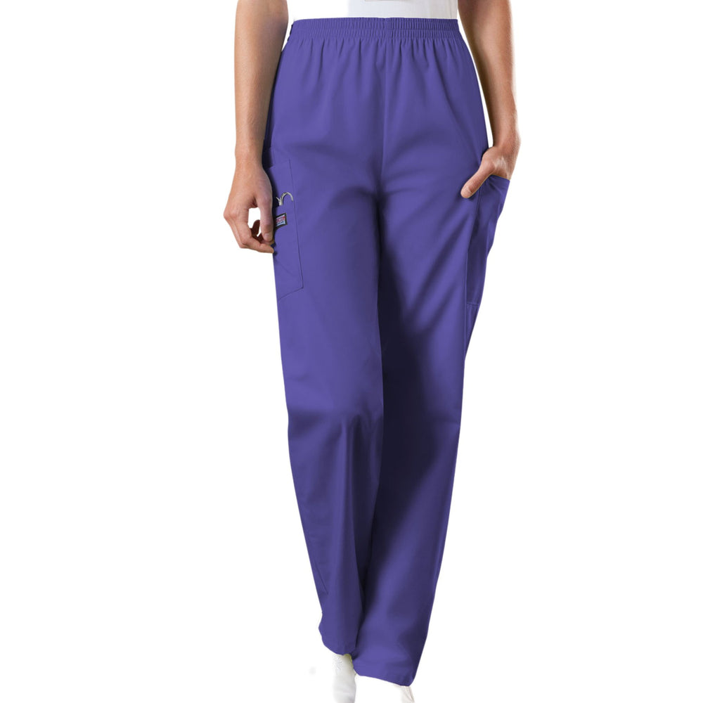 Cherokee Workwear 4200 Scrubs Pants Women's Natural Rise Tapered Pull-On Cargo Grape