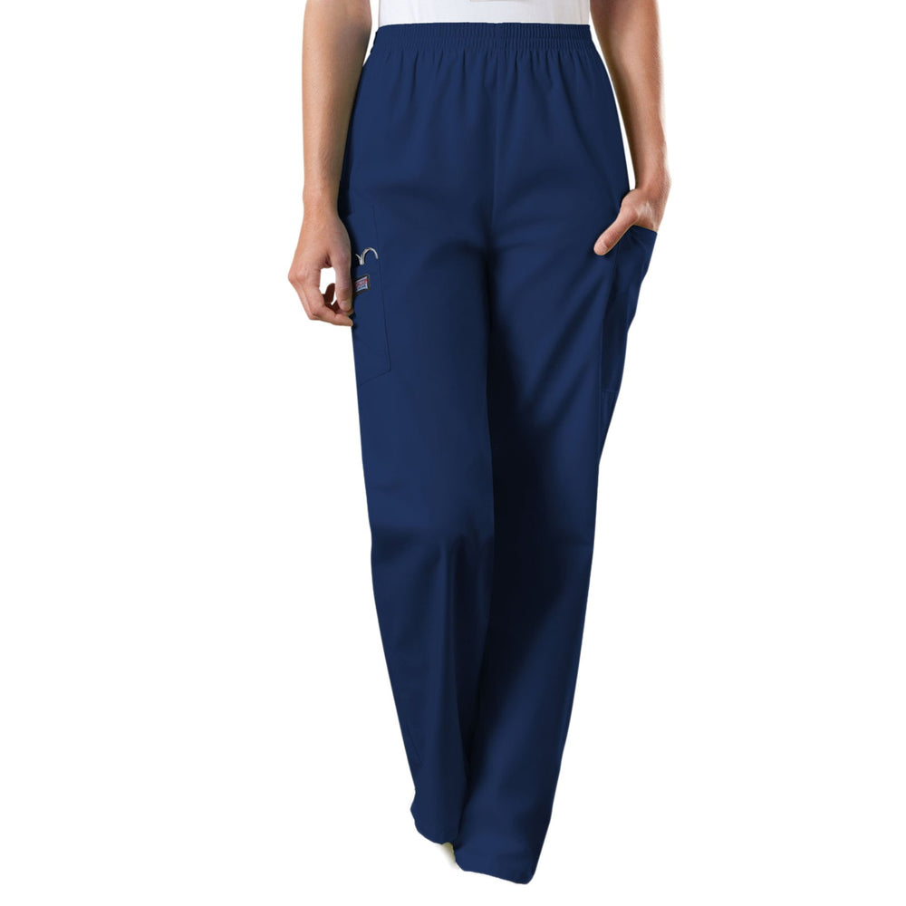 Cherokee Workwear 4200 Scrubs Pants Women's Natural Rise Tapered Pull-On Cargo Navy
