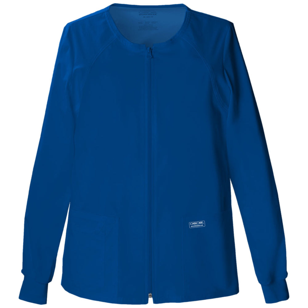 Cherokee Core Stretch 4315 Scrubs Jacket Women's Zip Front Warm-Up Galaxy Blue