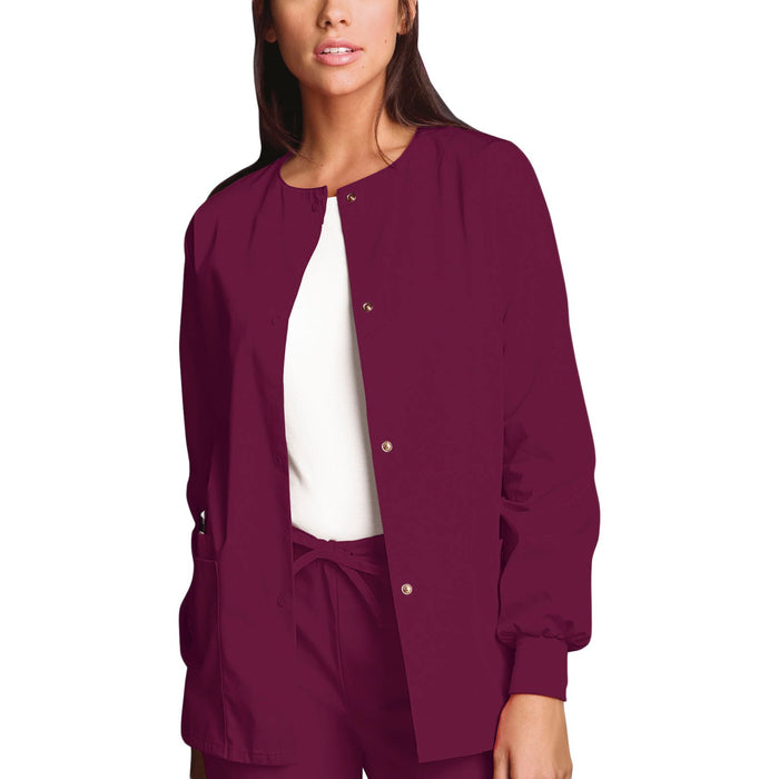 Cherokee Workwear 4350 Scrubs Jacket Women's Snap Front Warm-Up Wine
