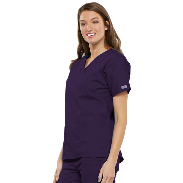 Cherokee Workwear 4700 Scrubs Top Women's V-Neck Eggplant 3XL