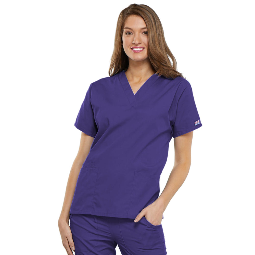 Cherokee Workwear 4700 Scrubs Top Women's V-Neck Grape