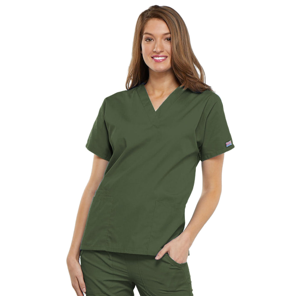 Cherokee Workwear 4700 Scrubs Top Women's V-Neck Olive