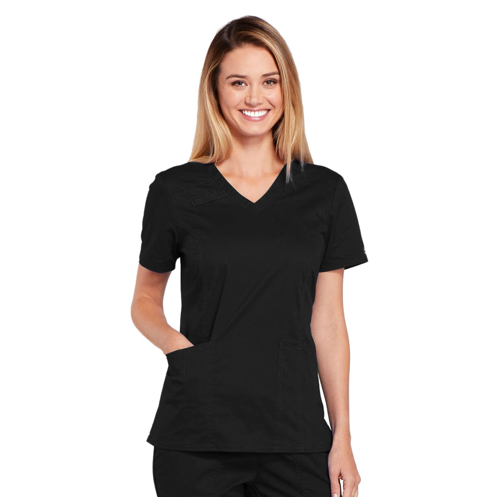 Cherokee Core Stretch 4710 Scrubs Top Women's V-Neck Black