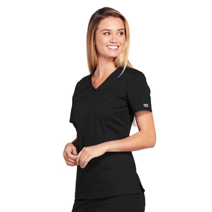 Cherokee Core Stretch 4710 Scrubs Top Women's V-Neck Black 4XL