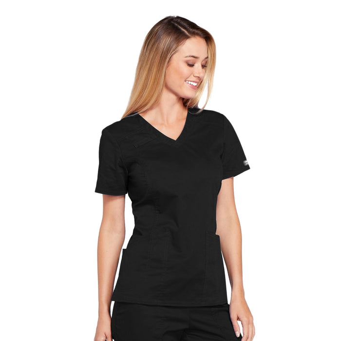 Cherokee Core Stretch 4710 Scrubs Top Women's V-Neck Black 5XL