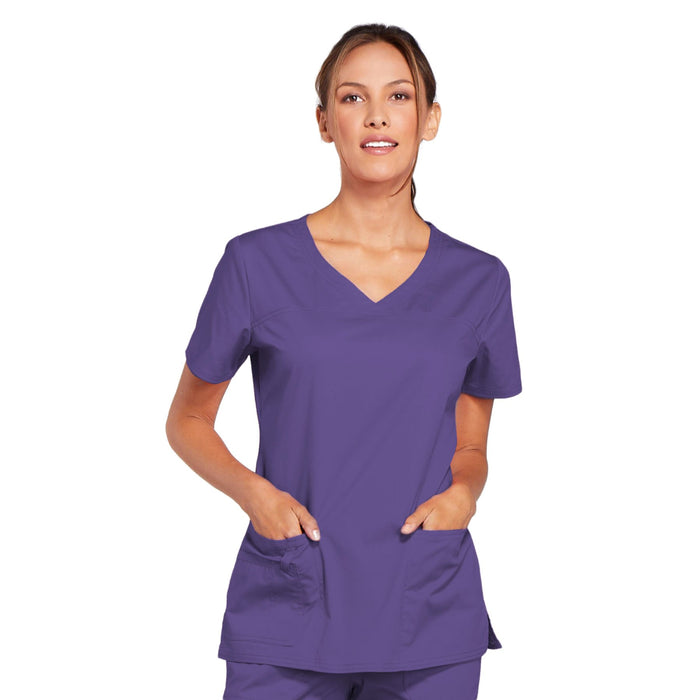 Cherokee Core Stretch 4727 Scrubs Top Women's V-Neck Grape