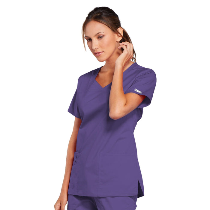 Cherokee Core Stretch 4727 Scrubs Top Women's V-Neck Grape 4XL