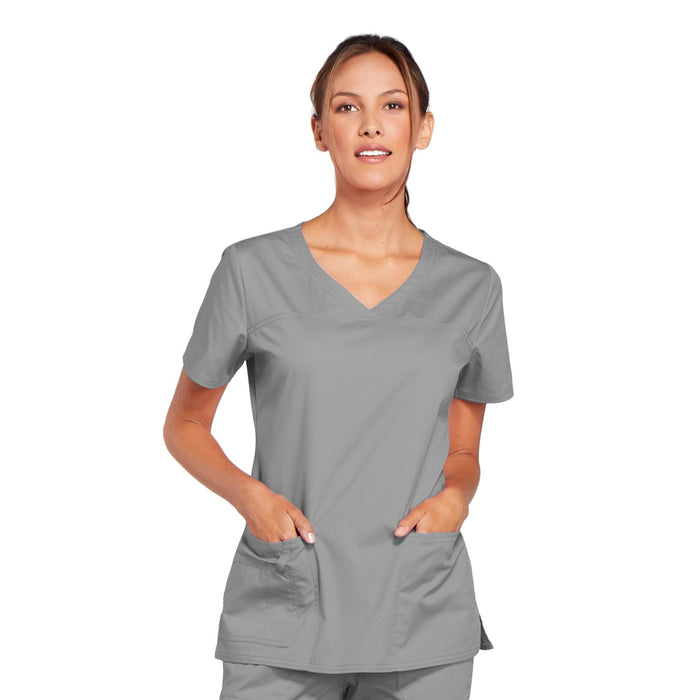 Cherokee Core Stretch 4727 Scrubs Top Women's V-Neck Grey