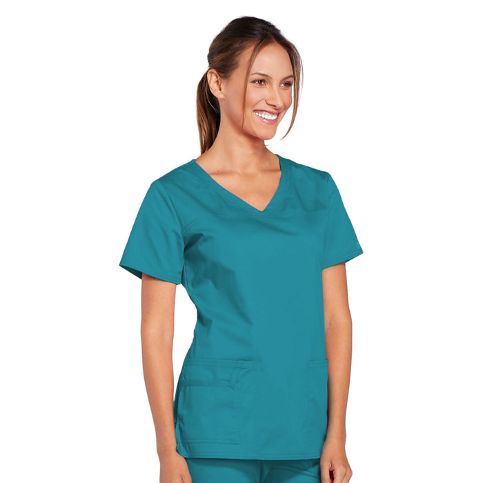 Cherokee Core Stretch 4727 Scrubs Top Women's V-Neck Teal Blue 5XL