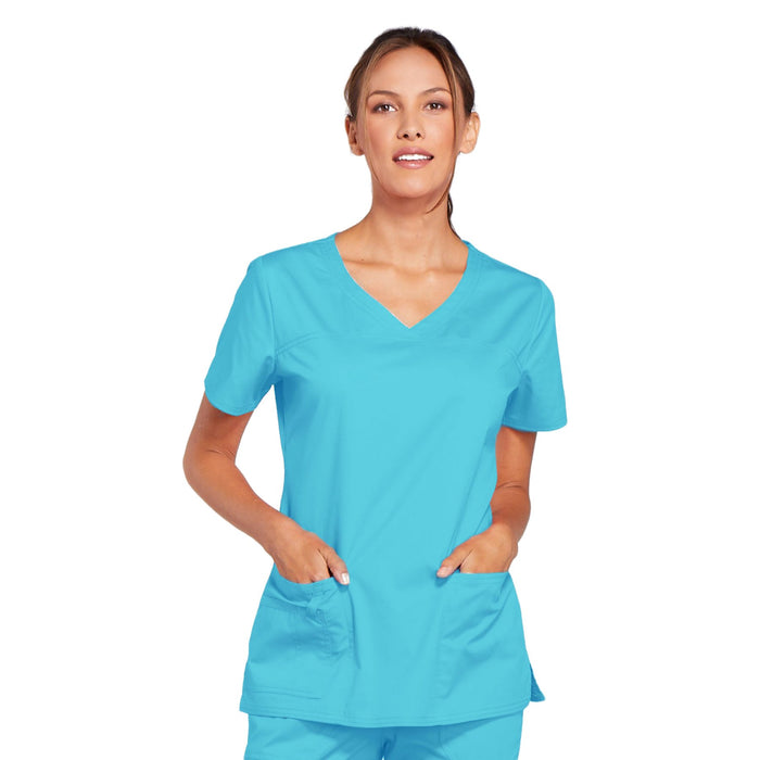 Cherokee Core Stretch 4727 Scrubs Top Women's V-Neck Turquoise