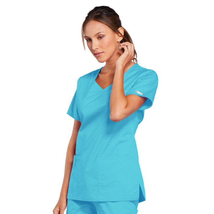 Cherokee Core Stretch 4727 Scrubs Top Women's V-Neck Turquoise 3XL