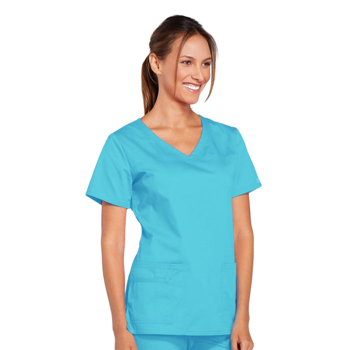 Cherokee Core Stretch 4727 Scrubs Top Women's V-Neck Turquoise 4XL