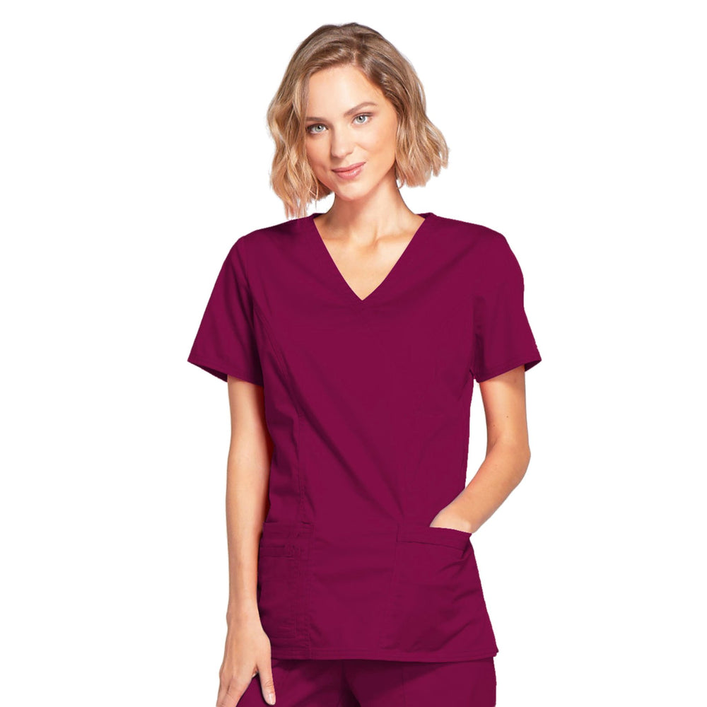 Cherokee Core Stretch 4728 Scrubs Top Women's Mock Wrap Wine