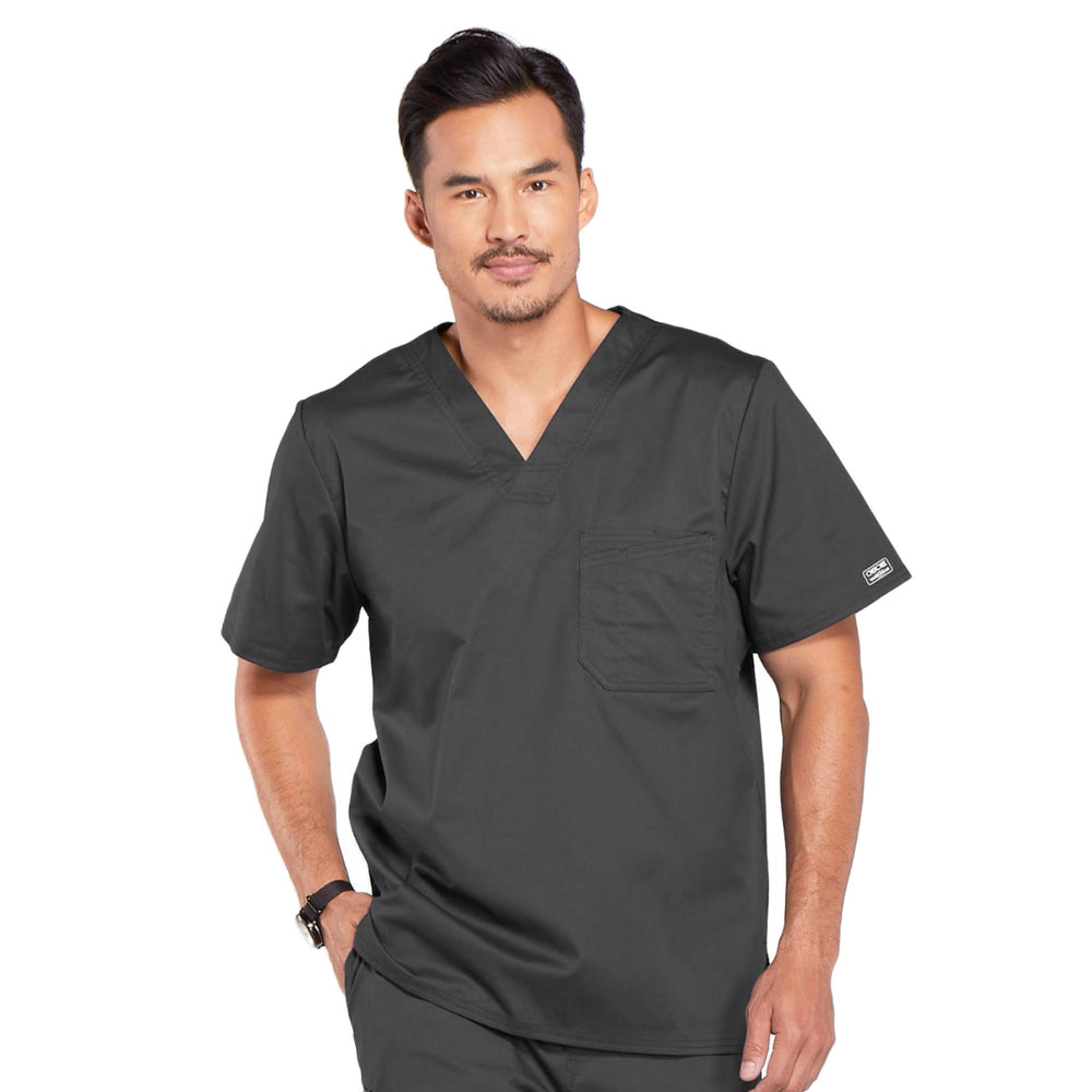 Cherokee Core Stretch 4743 Scrubs Top Men's V-Neck Pewter