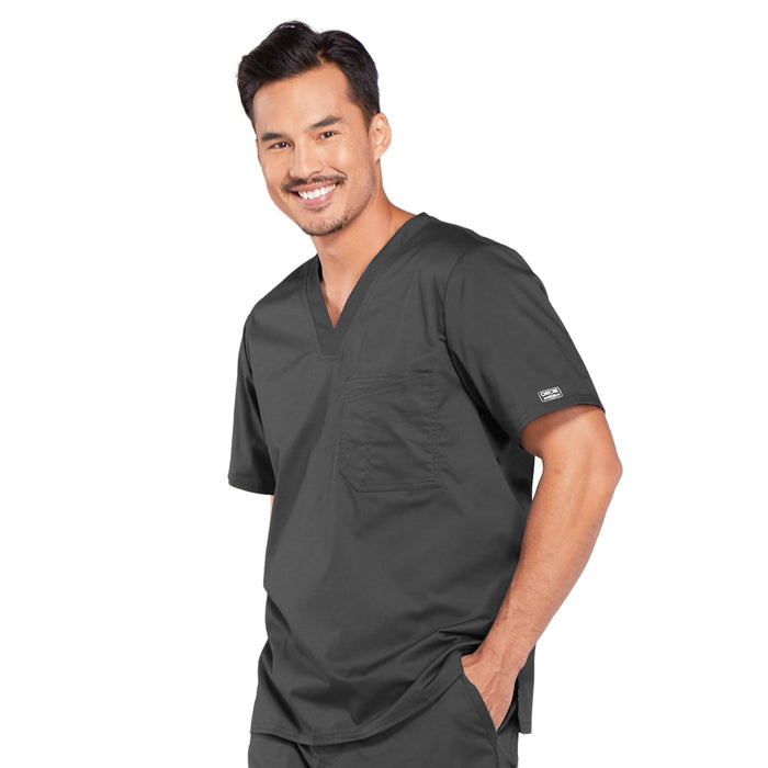 Cherokee Core Stretch 4743 Scrubs Top Men's V-Neck Pewter 3XL