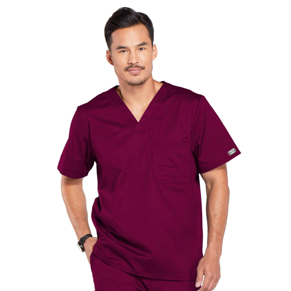 Cherokee Core Stretch 4743 Scrubs Top Men's V-Neck Wine