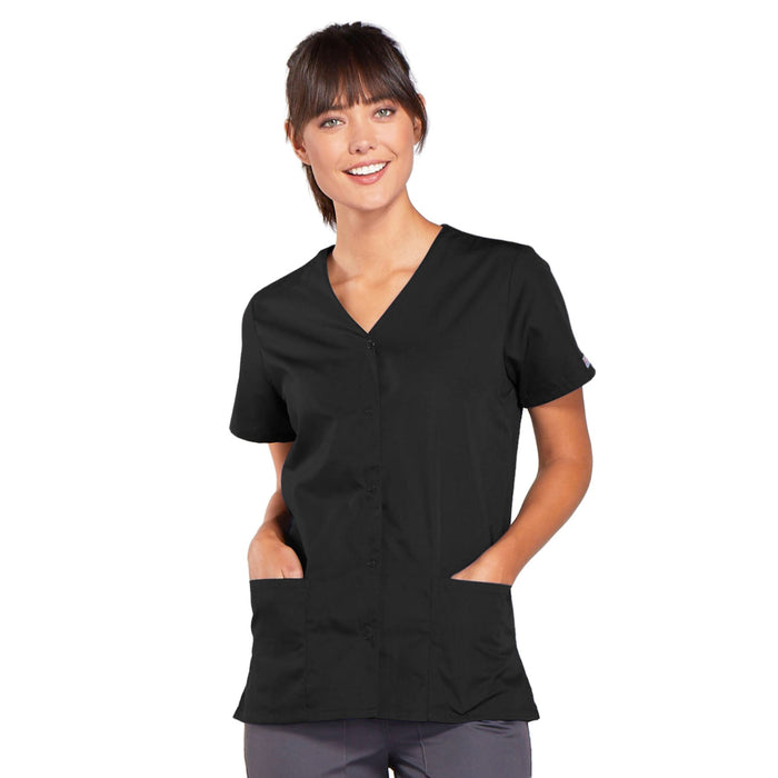 Cherokee Workwear 4770 Scrubs Top Women's Snap Front V-Neck Black