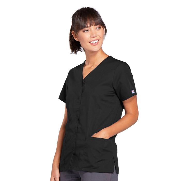 Cherokee Workwear 4770 Scrubs Top Women's Snap Front V-Neck Black 3XL