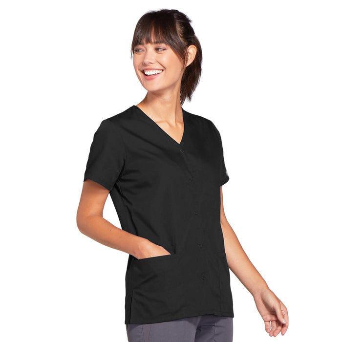 Cherokee Workwear 4770 Scrubs Top Women's Snap Front V-Neck Black 4XL