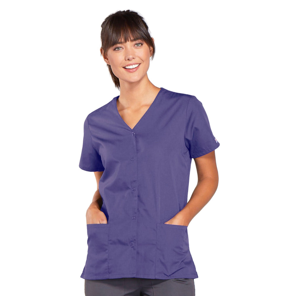 Cherokee Workwear 4770 Scrubs Top Women's Snap Front V-Neck Grape
