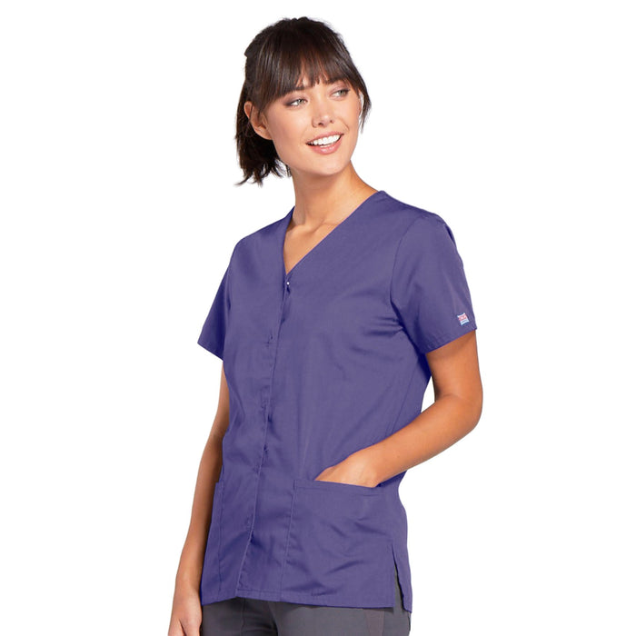 Cherokee Workwear 4770 Scrubs Top Women's Snap Front V-Neck Grape 3XL