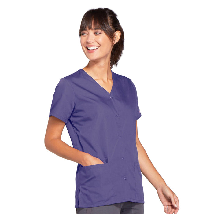 Cherokee Workwear 4770 Scrubs Top Women's Snap Front V-Neck Grape 4XL