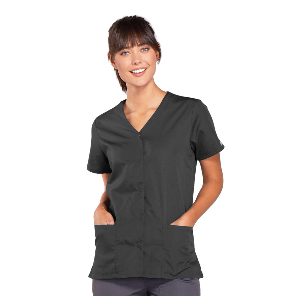 Cherokee Workwear 4770 Scrubs Top Women's Snap Front V-Neck Pewter