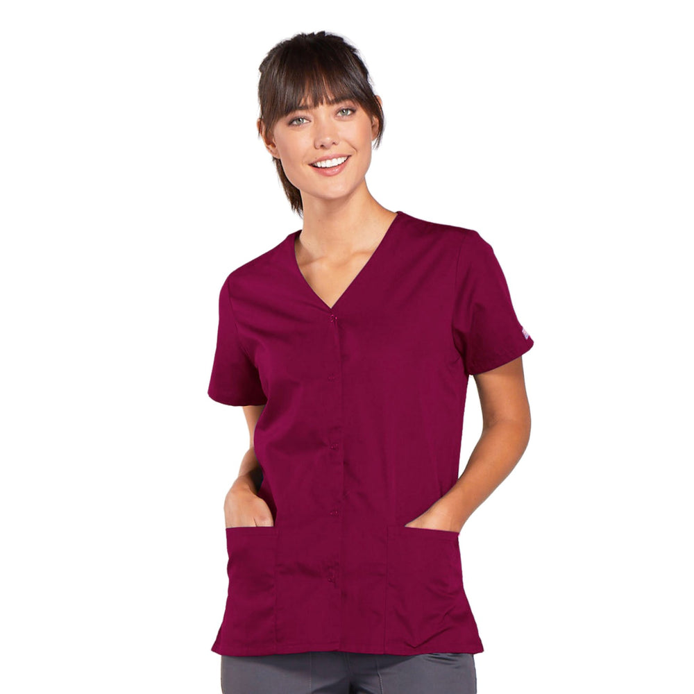 Cherokee Workwear 4770 Scrubs Top Women's Snap Front V-Neck Wine