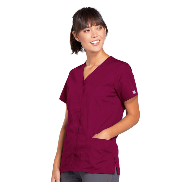 Cherokee Workwear 4770 Scrubs Top Women's Snap Front V-Neck Wine 3XL