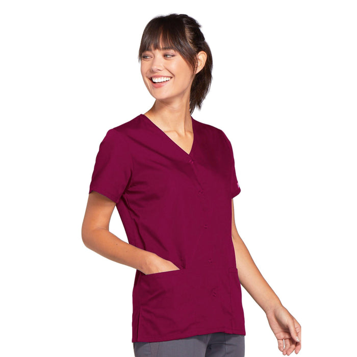 Cherokee Workwear 4770 Scrubs Top Women's Snap Front V-Neck Wine 4XL