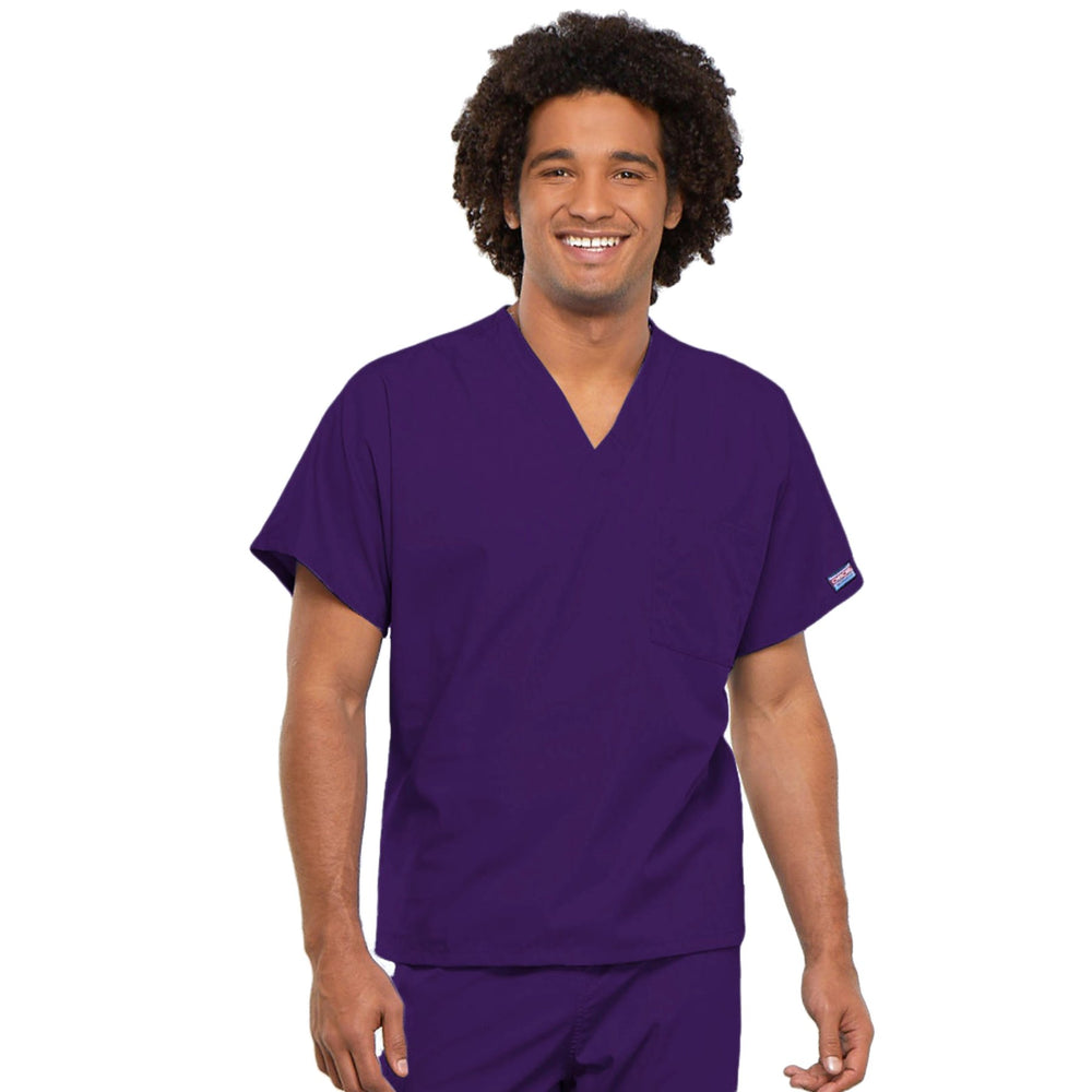 Cherokee Workwear 4777 Scrubs Top Unisex V-Neck Tunic. Eggplant