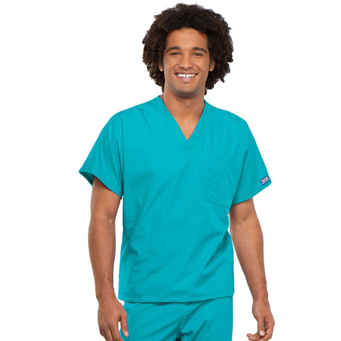 Cherokee Workwear 4777 Scrubs Top Unisex V-Neck Tunic. Turquoise