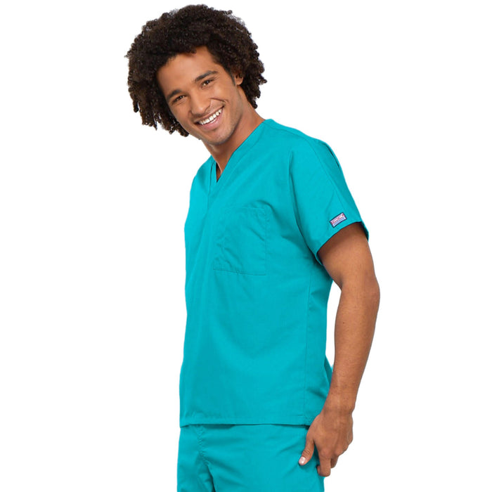 Cherokee Workwear 4777 Scrubs Top Unisex V-Neck Tunic. Turquoise 3XL