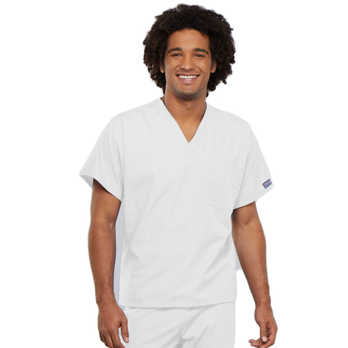 Cherokee Workwear 4777 Scrubs Top Unisex V-Neck Tunic. White