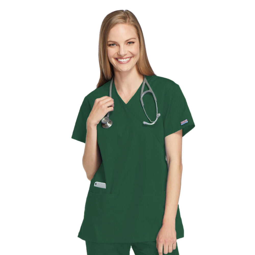 Cherokee Workwear 4801 Scrubs Top Women's Mock Wrap Tunic Hunter Green