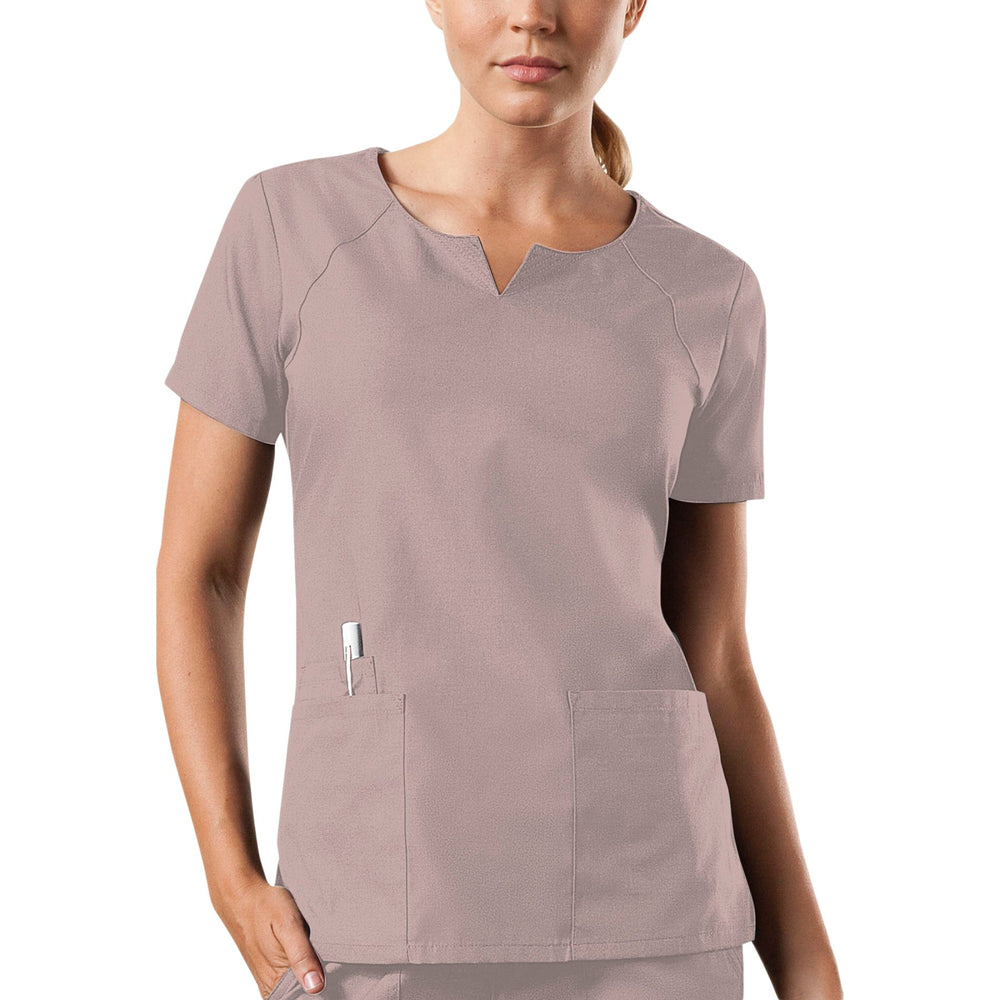 Cherokee Workwear 4824 Scrubs Top Women's Round Neck Khaki