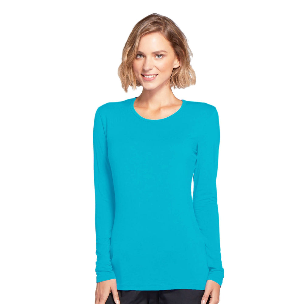 Cherokee Workwear 4881 Underscrubs Women's Long Sleeve Knit Tee Turquoise