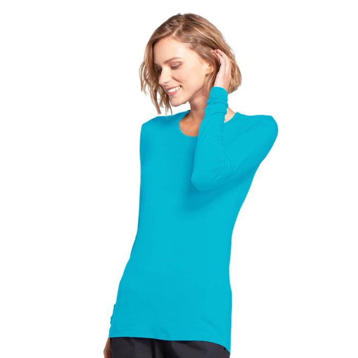 Cherokee Workwear 4881 Underscrubs Women's Long Sleeve Knit Tee Turquoise L