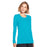Cherokee Workwear 4881 Underscrubs Women's Long Sleeve Knit Tee Turquoise M
