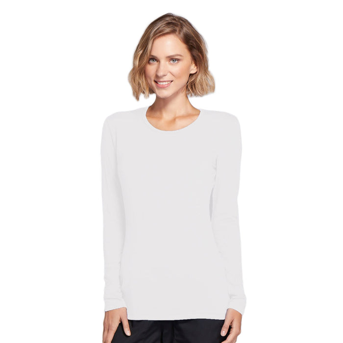 Cherokee Workwear 4881 Underscrubs Women's Long Sleeve Knit Tee White