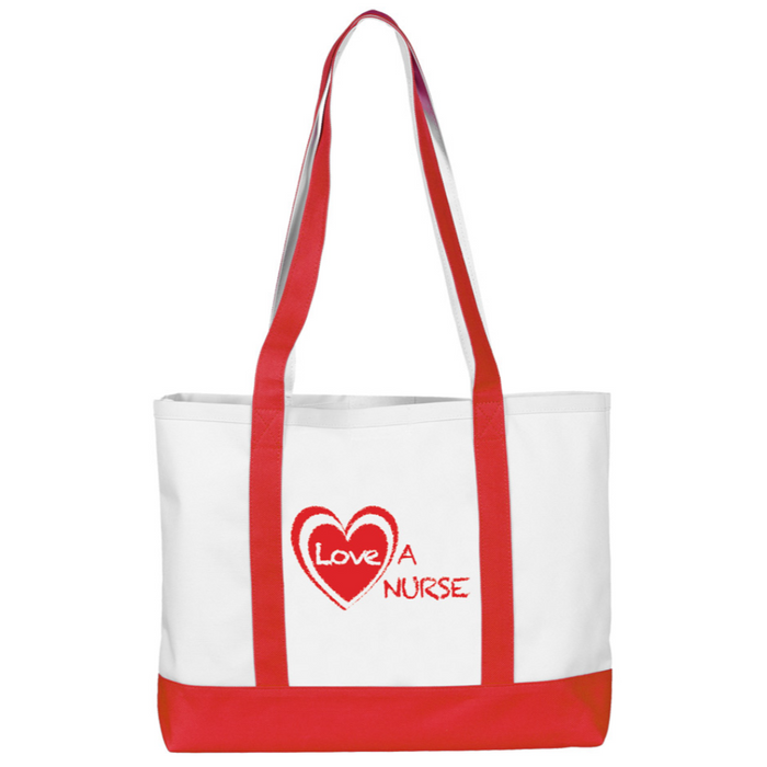 Prestige Large Tote Bag Red and White
