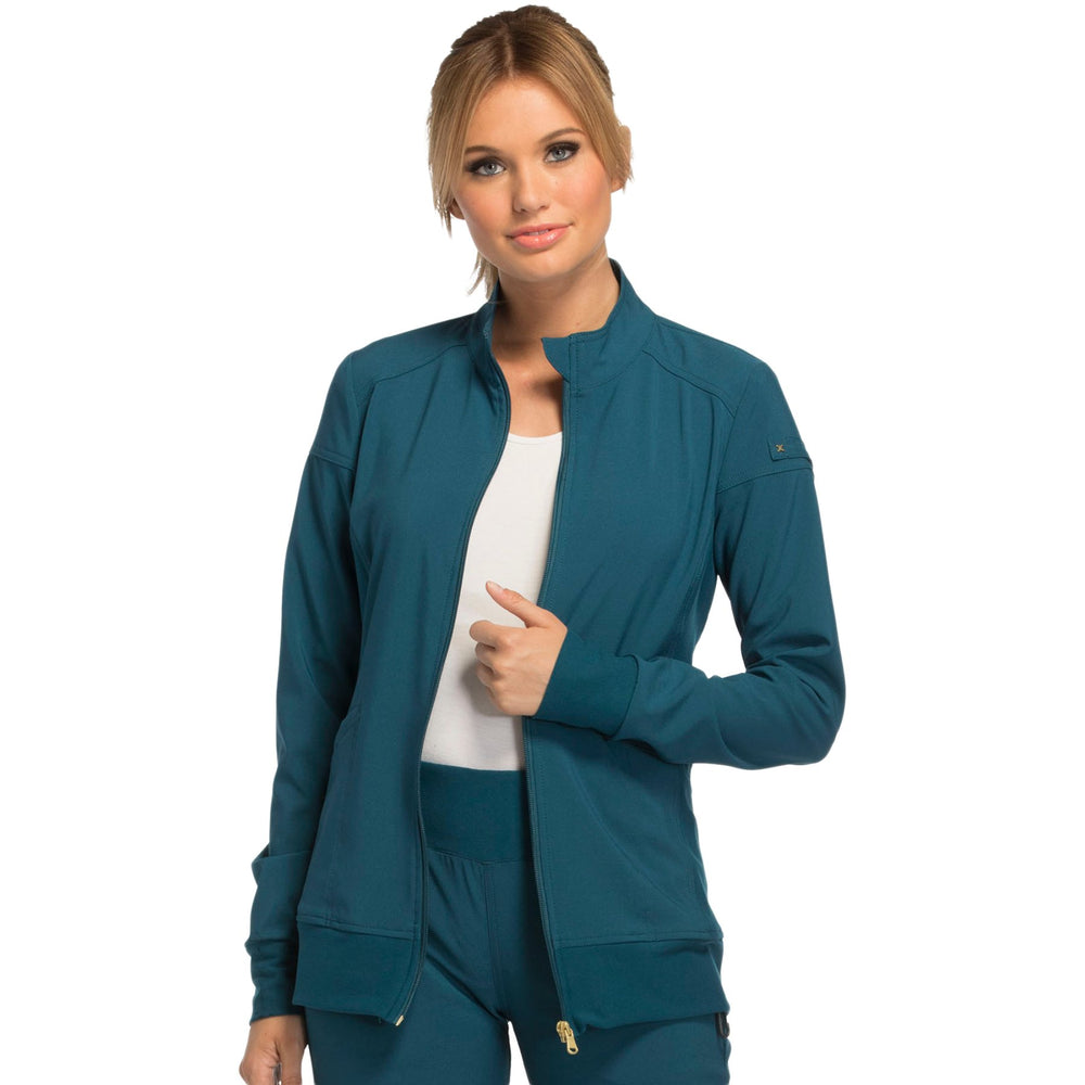 Cherokee iflex CK303 Scrubs Jacket Women's Zip Front Warm-Up Caribbean Blue
