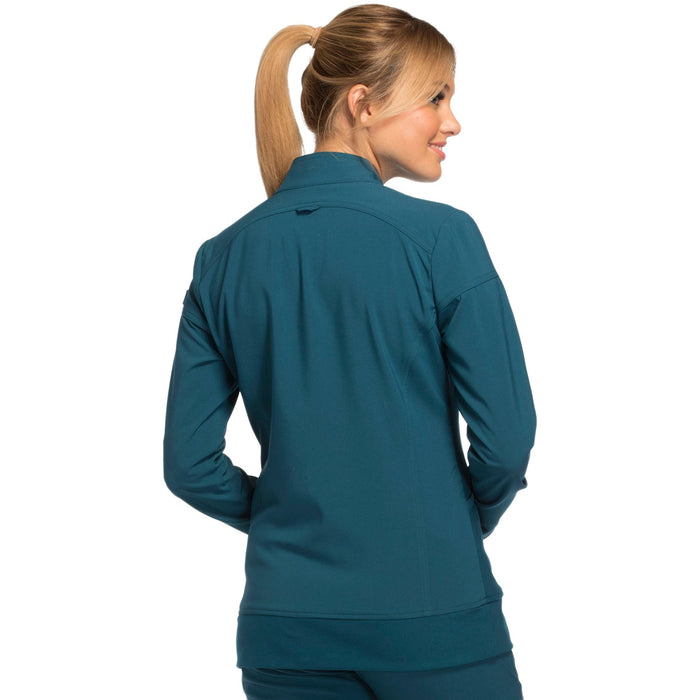 Cherokee iflex CK303 Scrubs Jacket Women's Zip Front Warm-Up Caribbean Blue 3XL