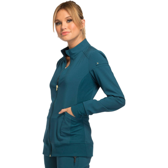 Cherokee iflex CK303 Scrubs Jacket Women's Zip Front Warm-Up Caribbean Blue 4XL