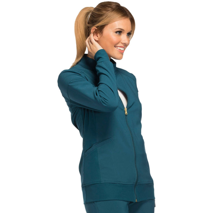 Cherokee iflex CK303 Scrubs Jacket Women's Zip Front Warm-Up Caribbean Blue 5XL